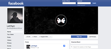 Screenshot of the Left/Right Facebook page