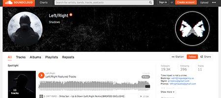 Screenshot of the Left/Right Soundcloud page