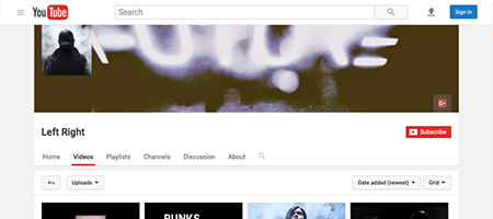 Screenshot of the Left/Right YouTube page